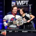 Patrick Serda and Ema Zajmovic tussling over WPT Montreal belt